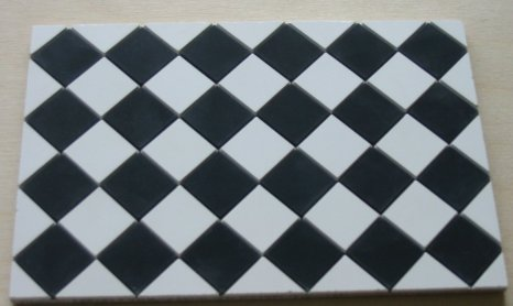 Black & White Square Quarry Tiles - Dolls House