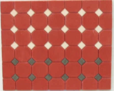 Dark Red Octagonal Floor Tiles - Dolls House